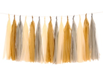 Tissue Paper Tassels, Cream, Tan and Gray Tassel Garland, Rustic Wedding Photo Backdrop Decorations, Shabby Chic Sweet 16 Party, Glamping