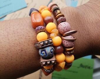 St. Neutrals 2 orange and rose bracelet set
