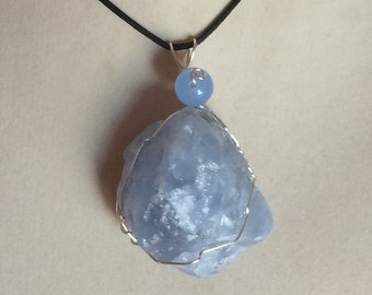Celestite Crystal Pendant Wire Wrapped Necklace Jewelry