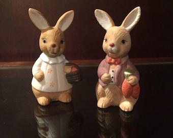 1980's, vintage Summit Company Easter Bunny,  porcelain figurines, Mr. And Mrs, Easter decor, springtime