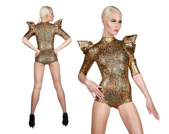 Gold Bodysuit, Holographic Clothing, Aerial Silks, Stage Wear, Burning Man Outfit, Futuristic Clothing, Dance Costume, Ravewear, LENA QUIST