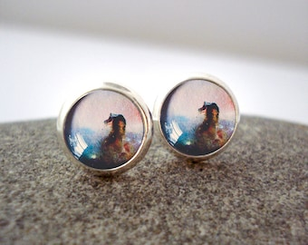 Horse Nebula Earrings - Tiny Silver Petite Outer Space Studs- Galaxy Jewellery, Astronomy, Universe - Blue and Pink, Horsehead Nebulae Posts