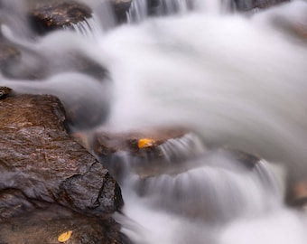 """Fall Color, Nature Abstract, River Photo, Great Smoky Mountains, Landscape Photography, Nature Print, """"Misty Swirls"""", Fine Art Photography"""