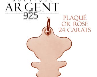 Pendant girl in Silver 925 plated rose gold 15 X 11 mm
