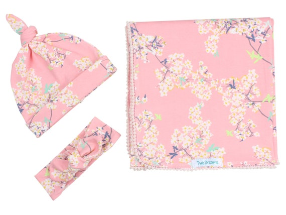 Cherry Blossom Newborn Swaddle Set Swaddle Blanket Top Knot Hat Knot Headband Pink Floral Cherry Blossom Pom Pom Jersey Swaddle Baby Blanket