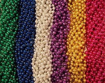 "200 Mardi Gras Beads Necklaces Metallic Round Popular Assortment 7mm 33"""