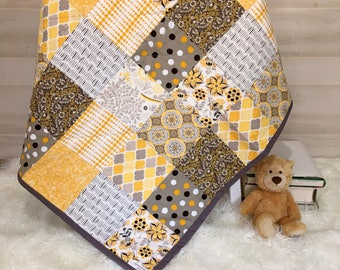 Baby Quilt - Gender Neutral Baby - Baby Shower Present - Embroidered Blanket - Modern Baby Quilt - Toddler Quilt - Personalized Baby Quilt