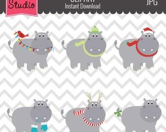 Christmas Hippos, Cute Hippos Clipart, Winter Hippos Clipart - Winter133