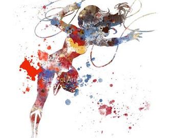 Wonder Woman ART PRINT illustration, Superhero, DC, Wall Art, Home Decor