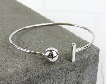 Personalised Silver T Bangle - Free Engraving