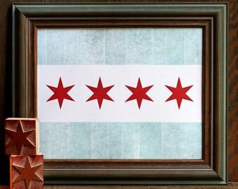 Chicago flag letterpress print