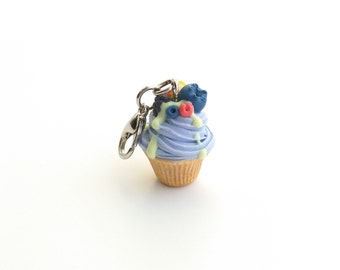 Blueberry cupcake charm Tiny food jewelry Cute keychains Bakery jewelry Key charm Cupcake pendant Fake food gift Food charms Tiny cupcake