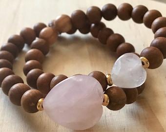 Mommy and Me Sandalwood and Rose Quartz Bracelet Set | Valentines gift