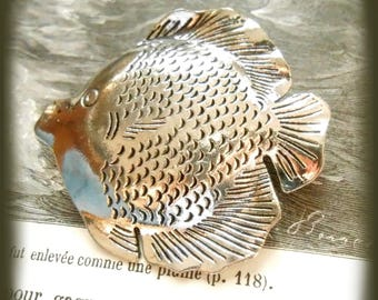 Embossed silver Tropical Fish pendant