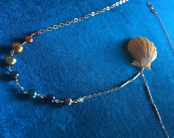 "Rainbow Hawaiian Sunrise Shell Pearl & Gemstone 14kt Gold-filled 21"" long Handmade Necklace, One of a Kind"