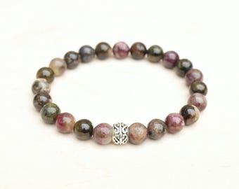Tourmaline bracelet, Yoga bracelet, Tourmaline jewelry, Silver bracelet, Gemstone bracelet, Purple bracelet, October birthstone