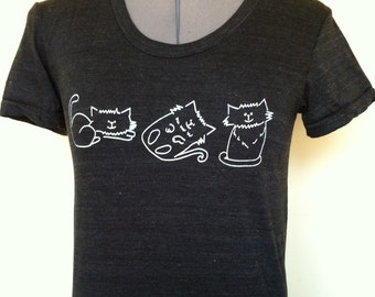 Black Tshirt for Women-Cat Tshirt for Cat Lovers, Tshirt with cats in sizes S to XL