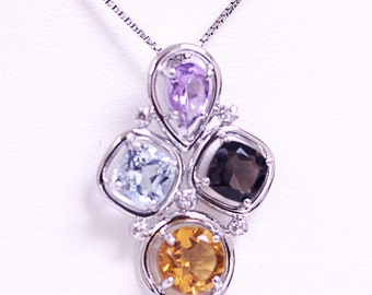 All natural stones in pendant with chain in Sterling Silver 925