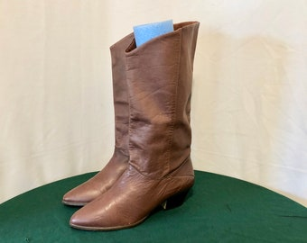 Sz 9 M Vintage Tall Brown Genuine Leather 1980s Women Pull On Slouch Boots.