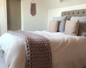 Chunky knit blanket - MINK - giant knit blanket - mink wool blanket - merino wool blanket - arm knitted wool throw - saint wool - Christmas