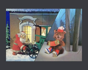 Soviet Vintage Christmas Postcard Set Of 2/USSR Postcard/Collectible/New Year Postcard/Ded Moroz/Creepy Cute Puppet Toy/Rare Postcard/Mishka