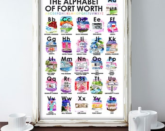 Fort Worth Alphabet, watercolor, Fort Worth gifts, Texas Alphabet, Alphabet of Fort Worth, TCU, TCU gift, TCU baby, nursery art, baby gift