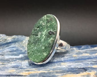 Green Dioptase Stone Ring // 925 Sterling Silver // Oval Setting // Size 8.5 Dioptase Ring