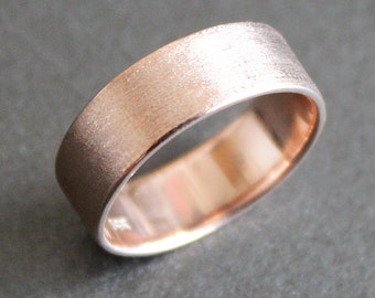 14K Solid Rose Gold Ring - 6mm Rectangle Band - Simple UNISEX Wedding Ring (Size 4 - 12)