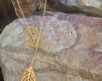 Gold leaf lariat, Y necklace