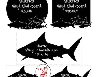 Sharks Vinyl Chalkboard Wall Decal: Shark Party Birthday Decoration, Man Cave Wall Decor Chalk Board (0177a)