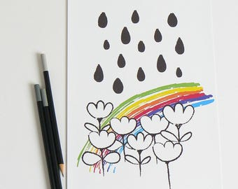 Rainbow nursery print . Monochrome nursery . Monochrome decor