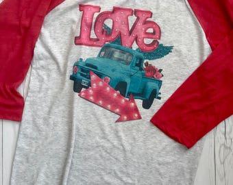 Valentines Shirt, Valentines Womens, Love Junkin Truck, Valentines Raglan Vintage Truck Shirt Valentine T-shirt, Love Shirt, Valentines Gift