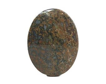 Golden Brown and Blue Agate Dinosaur Fossil Gembone Oval Calibrated Flat Back Cabochon