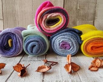 sock blank, hand dyed sock blank, pink yarn, green yarn, blue yarn, yellow yarn, 4ply sock blank, gradient sock blank, sock knitting, socks.