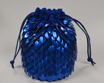 Dice Bag of Holding Knitted Dragonhide Scale mail Blue