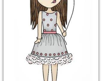 Birthday greeting card girl customize 21cm x 10.5 cm