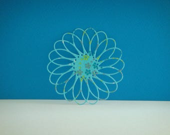 Cut decoupage flower blue with small flowers diameter 7.5 cm