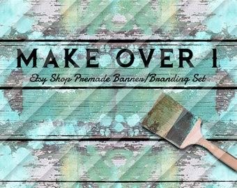 """furniture banner set-upcycle banner set-old furniture banner-painted wood banner-wood banner set-wood shop banner set-wood """"Make Over 1"""""""