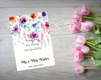 Personalised Wedding Thank You Cards with Matching Envelopes Pack Of 10 TY74
