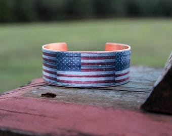 Hand Crafted American Flag Cuff Bracelet with Copper Back