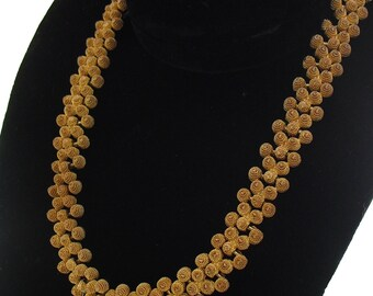Vintage Cannetille Necklace Etruscan Revival Choker 1950s Jewelry