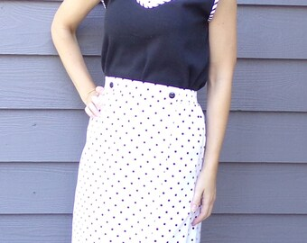 BLACK and WHITE POLKADOT skort high waist M (A8)