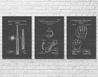 Baseball game patent patent print wall decor baseball art baseball patent collection of 3 patent print wall decor baseball bat baseball malvernweather Gallery