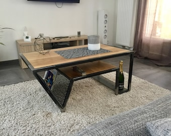 Steel & wood coffee table