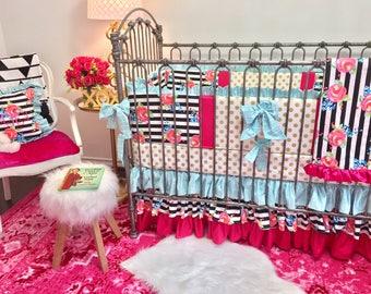Gold Dot Girl Crib Bedding, Baby Girl Crib Set, Floral Watercolor Pink and Aqua Baby Bedding, Pink Floral Crib Sets, Watercolor Crib Bedding