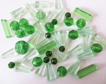 50gr assortment chlorophyll glass beads