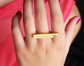 Overlap Ring- square brass tubing, geometric