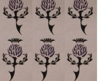 Temporary Tattoo/Thistle Tattoo/Celtic Thistle Tattoo/Custom Tattoo/Miniature Tattoos/6 pack