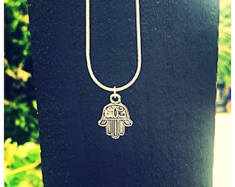 Elegant Hamsa Hand Necklace. 925 silver chain. Gift bag packaged.