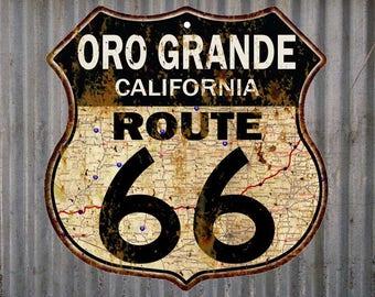 Oro Grande, California Route 66 Vintage Look Rustic 12X12 Metal Shield Sign S122073
